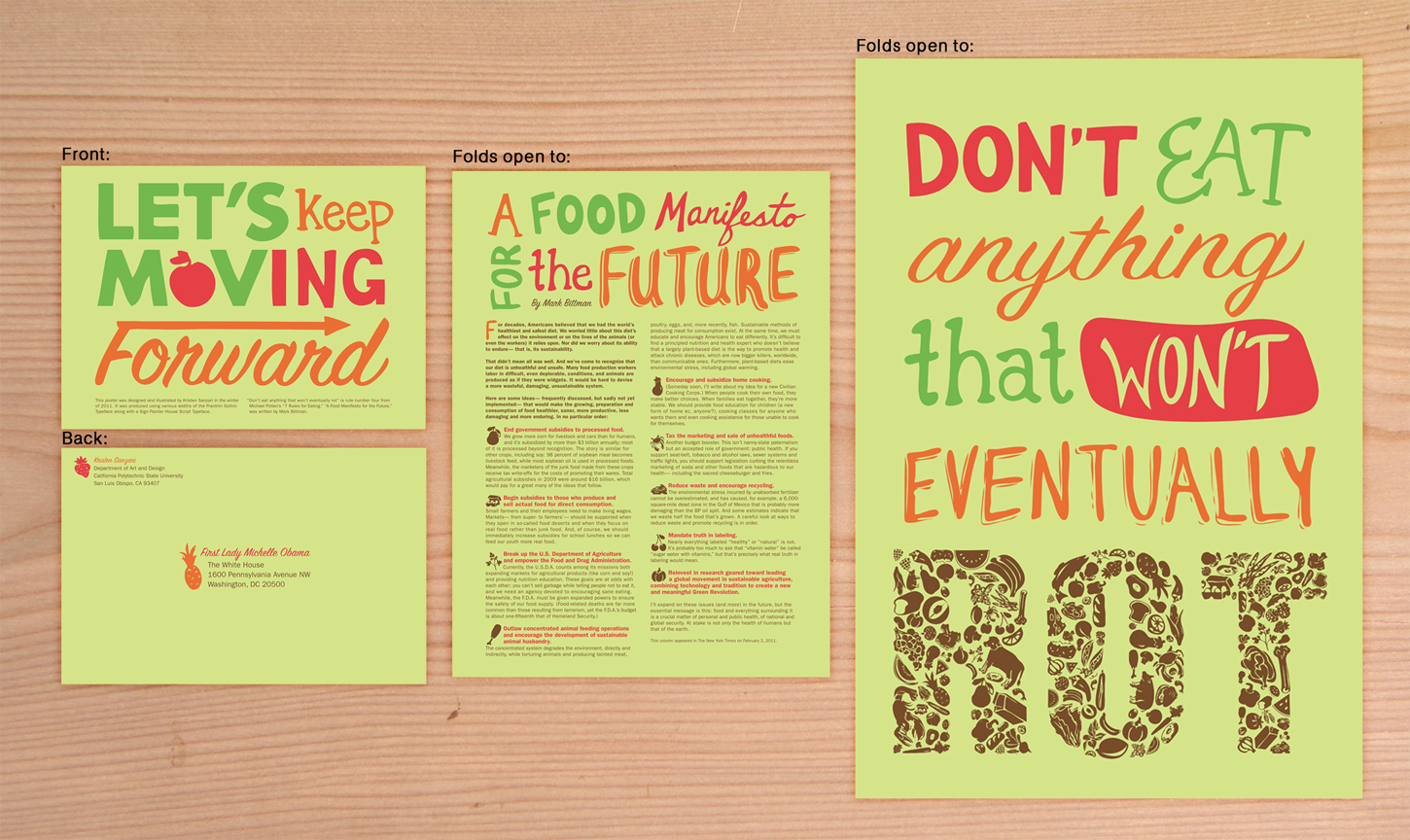 Healthy eating awareness brochure that opens up to a poster